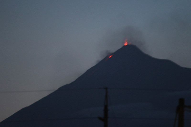 """Volcán de Fuego (""""Volcano of Fire"""") was putting on a bit of a show for us."""